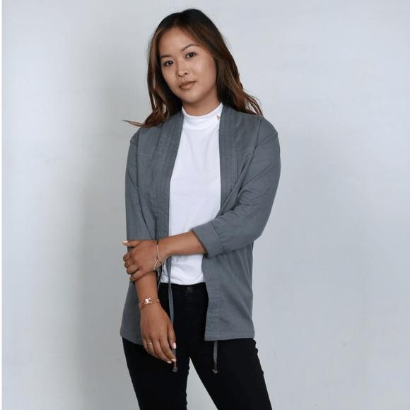 AKASHI-KAMA Jackets & Blazers - AKASHI-KAMA Kimono Jacket in Fog/Grey